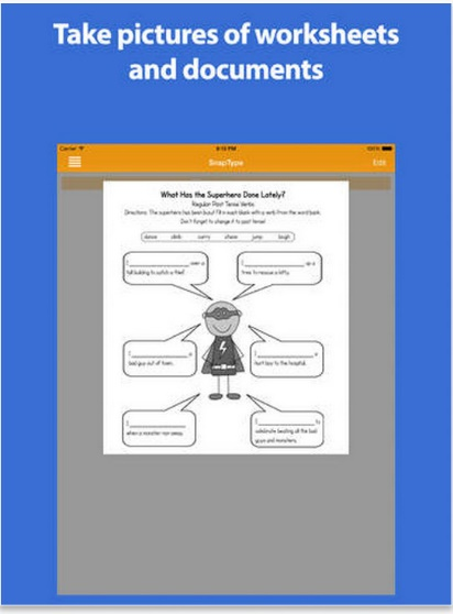 Snaptype - taking pictures of worksheet