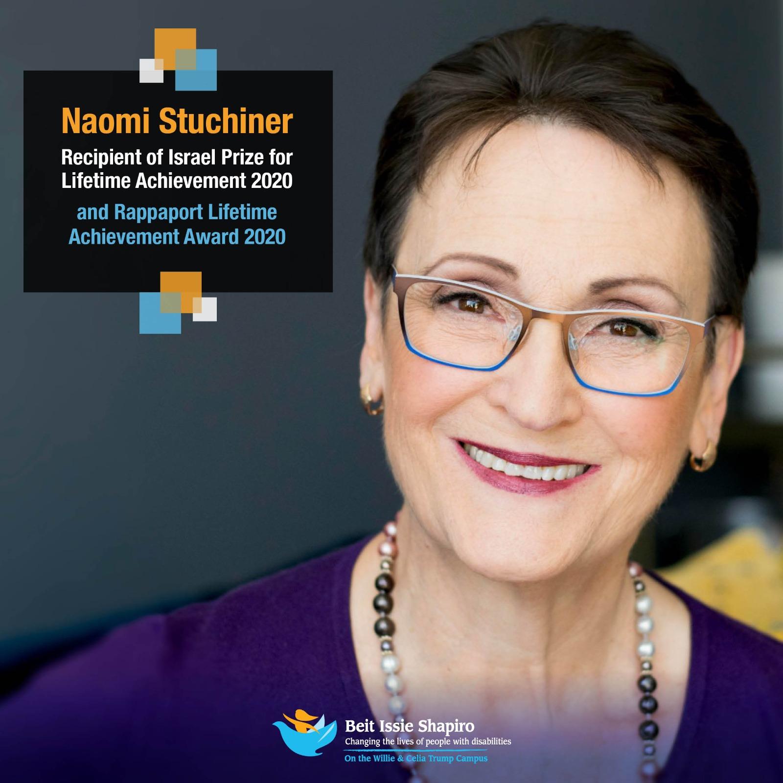 Israel Prize for Lifetime Achievement Awarded to Beit Issie Shapiro Founder, Naomi Stuchiner